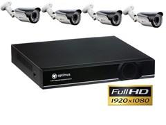 Комплект видеонаблюдения Full HD Optimus на 4 уличных камеры 1080P