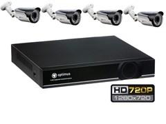 Комплект видеонаблюдения HD Optimus на 4 уличных камеры 720P